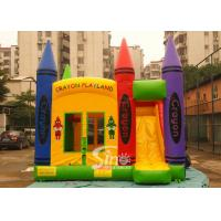 Wholesale Hot commercial outdoor crayon inflatable bounce house with basketball ring N slide inside for kids parties from china suppliers