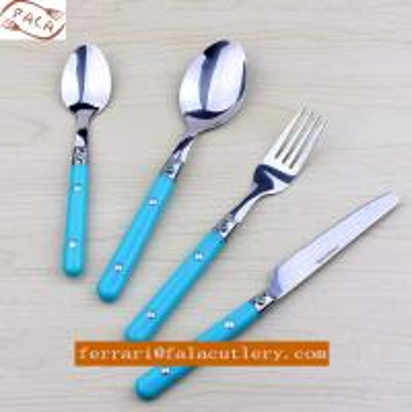 Aqua Blue Plastic Handle Flatware Set Of Falacutlery