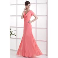 Wholesale Watermelon V Neck Chiffon Ruffle Floor Length Mother Of The Bride Gowns Mermaid Style 2013 Online Cheap from china suppliers