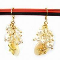 Wholesale Nickel-free Earrings with Imitation Gold Plating, Made of Alloy and Shell, Decorated with Pearls from china suppliers