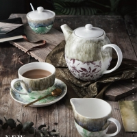 Wholesale 1000cc Demitasse Decorative Flowering Bone China Teapot And Cup Set from china suppliers
