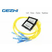 China 1x8 One In Eight Out SC / UPC Fiber Optic splitter plc , optical fiber splitter SM 1M wholesale
