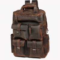 Wholesale Men'S Retro First Layer Cowhide Travel Hiking Backpack from china suppliers