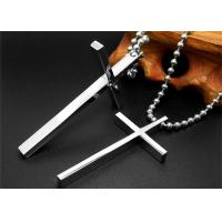Quality Religious Stainless Steel Celtic Cross Necklace , Black Chain Necklace For Men for sale