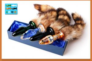 Wholesale 35cm Fox Tail Crystal 8CM Anal Plug Sex Toy For Couple from china suppliers