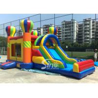 Wholesale 4in1 Rainbow Commercial Kids Inflatable Bounce castle with Slide N basket hoop inside from china suppliers