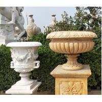 Wholesale Outdoor Marble planter stone carved flowerpot sculpture,garden stone garden statues supplier from china suppliers
