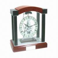 Wholesale Skeleton Clock with Birch Wooden Finish and Glass Panel from china suppliers