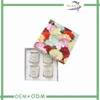 Colorful Flower Printing Candle Packaging Boxes For Four Pieces