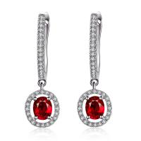 Long Ruby Earrings White Gold 18k , Pear Shaped Ruby Earrings With Diamond Accents
