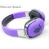 Purple Bluetooth Stereo Headphones , Wireless Over The Ear Bluetooth Headphones
