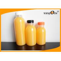 China Round Small Empty Plastic Juice Bottles with Lids / Food Grade Plastic Soda Bottles on sale