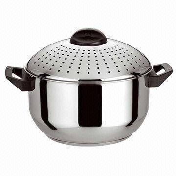 6qt 2qt stainless steel pasta pot set with locking strainer lids of item 106219910. Black Bedroom Furniture Sets. Home Design Ideas