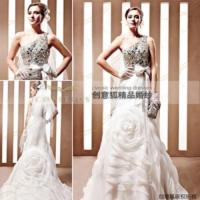 Wholesale shiny obliqued shoulder bridal gowns,  brand gorgeous bridal gowns 90066 from china suppliers