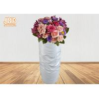 Wholesale Wavy Pattern Glossy White Fiberglass Floor Vases For Artificial Plants 3 Piece from china suppliers
