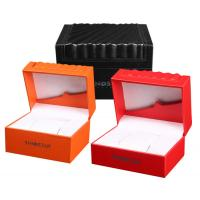 Wholesale High Glossy Orange PU Leather Watch Box Custom LOGO Printing Environmentally Friendly from china suppliers