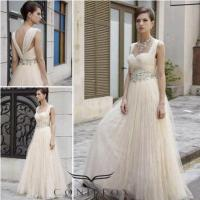 Wholesale beige tulle empire wedding evening dresses,  affordable floor length pageant evening dresses from china suppliers