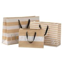 Wholesale 250gsm Brown Paper Shopping Bags , Commercial Paper Bags Clear Crease from china suppliers