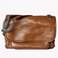 Wholesale Women'S Leather Retro Pleated V-Pattern Large Capacity One Shoulder Versatile Messenger Bag from china suppliers