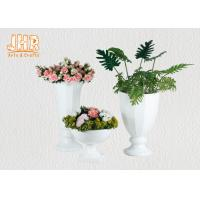 Quality Trumpet Glossy White Polystone Centerpiece Table Vases Floor Vases For Home for sale