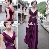 Wholesale deep v-neck wedding guest gowns,  purple beading wedding evening dresses from china suppliers