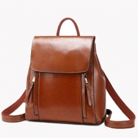 Wholesale Lady'S Two Layer Cowhide Oil Wax Leather Backpack from china suppliers