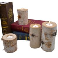 Wholesale Beautiful rustic birch bark wooden tealight candle holders from china suppliers