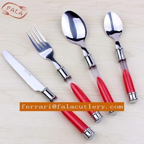 Multi color light weight 12 pieces plastic handle flatware of item 102888288 - Flatware colored handles ...