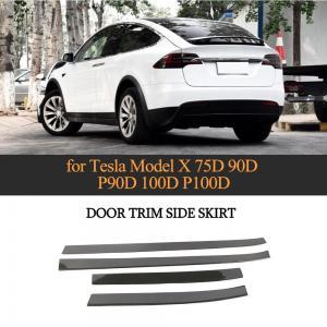 China Carbon Fiber Car Body Door Cover Decoration Trim Strip Side Skirts Extension Lip for Tesla Model X 2016 - 2018 on sale