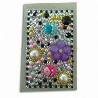 Wholesale Stickers for Mobile Phones, Made of Acrylic, Decorated with Crystal and Rhinestones from china suppliers