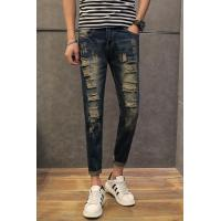 Knee holes fancy ripped mens tapered jeans innovative drop crotch