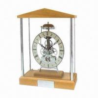 Wholesale Skeleton Clock with Birch Wooden Finish and Alloy Case from china suppliers