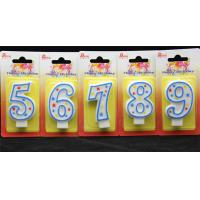 Wholesale 100%Hand painting Birthday Candle with blue line and 3 colors star printed from china suppliers