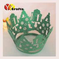 Wholesale Green christmas tree Laser Cut Cupcake Wrappers holiday favours and decorations from china suppliers