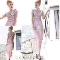 Wholesale beading stripe sumer beach dresses,  pink cap sleeve beach party dresses from china suppliers