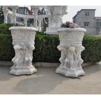 Wholesale Stone carved Marble planter carved flowerpot sculpture,garden stone garden statues supplier from china suppliers
