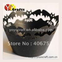 Wholesale Holloween party Laser Cut Cupcake Holder black color Non stick Eco - friendly from china suppliers