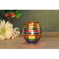 Wedding Decorative Glass Candle Holder , Colored Glass Votive Candle ...