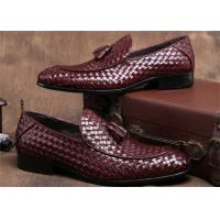 Pointed Moc Toe Mens Woven Leather Loafers , Burgundy Mens Dress Shoes With Tassels