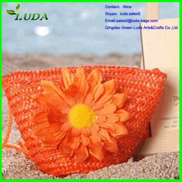 Environmental Natural Jute Handbag With Flowers Of Item