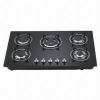Wholesale Five-burner Gas Hob with Colorful Glass Panel for Choice, Automatic Pulse Ignition from china suppliers