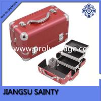 China Red rectangle PU leather makeup carry case wholesale
