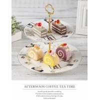 Wholesale CE Two Tier Cake Stand 20.5cm Porcelain Serving Set from china suppliers