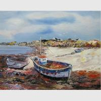 Buy cheap Hand Painted Fishing Boats Oil Paintings, Abstract Canvas Painting on Beach from wholesalers