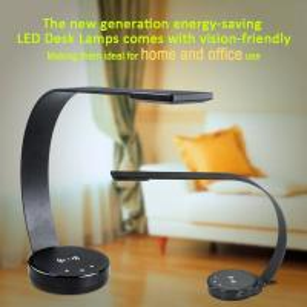 New design ABS modern elegant office desk lamp led with QI wireless charge USB port 5 level brightness