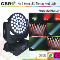China Professional led stage lighting equipment / 36x10W  RGBW Led Moving Head Wash Zoom wholesale