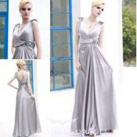 Wholesale chic silver prom gowns,  v-neck designer prom gowns from china suppliers