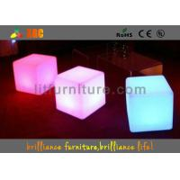 China 16 Colors Changeable LED Cube Chair / Modern Round Bar Stool With Huge Capacity Rechargeable Battery on sale