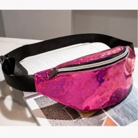 Wholesale Fashion OEM PU Faux Leather Sequined Women Mens Waist Bag With Zip from china suppliers