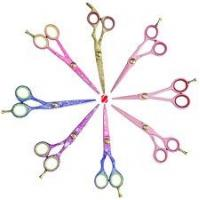Wholesale 7  Rubber handle 2cr13 Gold plated blade Titanium coated Hair Salon Scissor from china suppliers